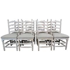 Set of Eight Country French Painted Dining Chairs