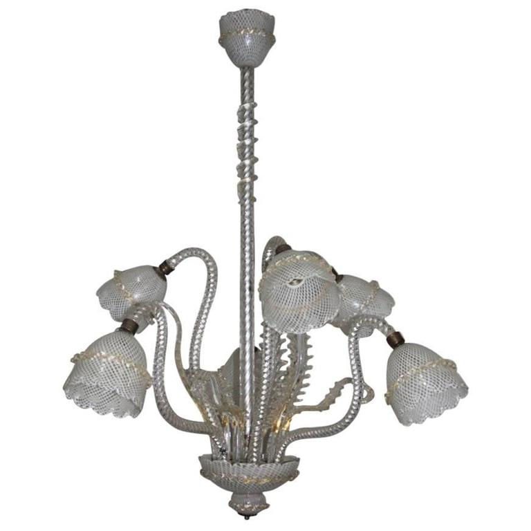 Chandelier Murano Art Glass Reticello 1940 Very Elegant