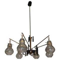Sculpture Brass and Glass Chandelier, Mid-Century, Italian Design