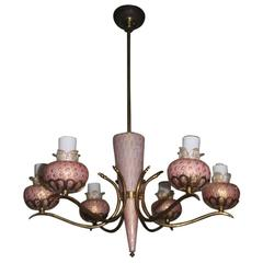 Midcentury Chandelier, Murano Glass  Bubbles and Gold Inside, 1950, Brass