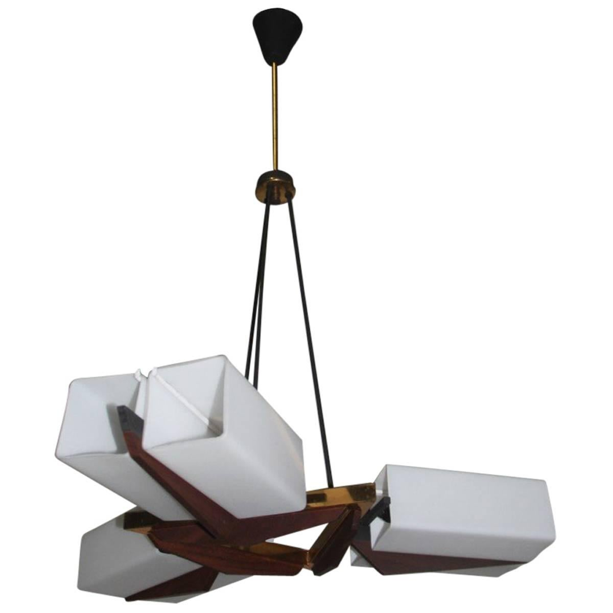 Bruno Chiarini Chandelier, Italian Design Brass Murano Glass Mid-Century Modern