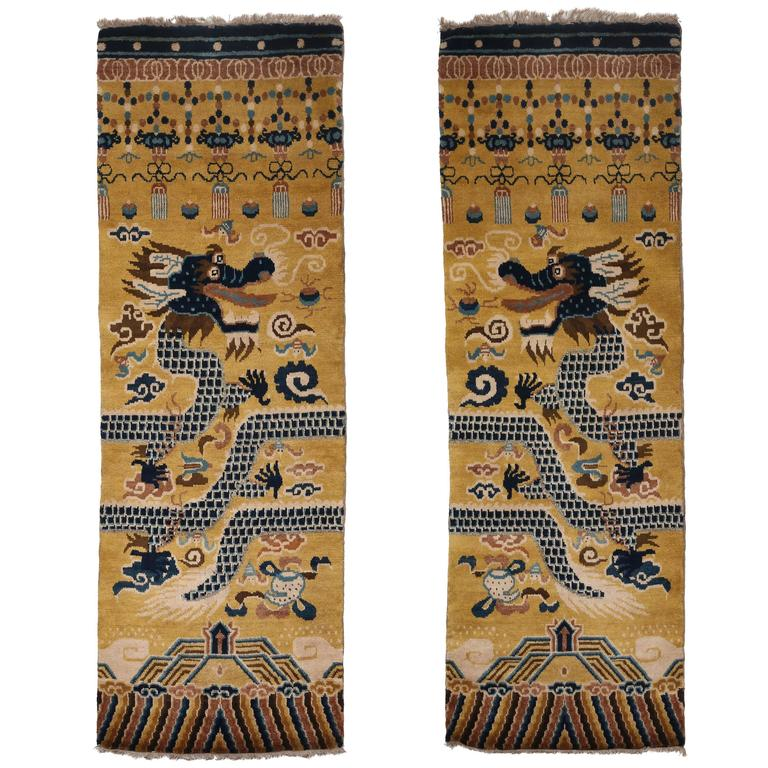Hand-Knotted Wool Pair of Ningxia Dragon Temple Pillar Rugs/Carpets, Chinoiserie For Sale
