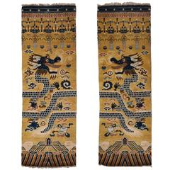 Hand-Knotted Wool Pair of Ningxia Dragon Temple Pillar Rugs/Carpets, Chinoiserie