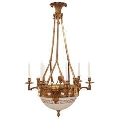Large French Bronze Empire Glass Chandelier Circa 1880