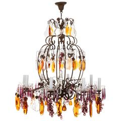French Chandelier with Purple Icicles & Amber Plaques, circa 1900