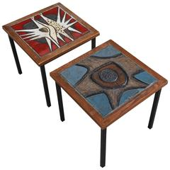 Very Rare Set of Two Art Tile Side Tables Designed by Paul Vermeire, Belgium