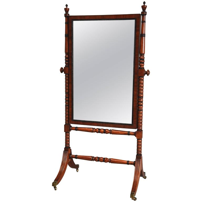 Early 19th Century Fine Quality Regency Mahogany Cheval Mirror