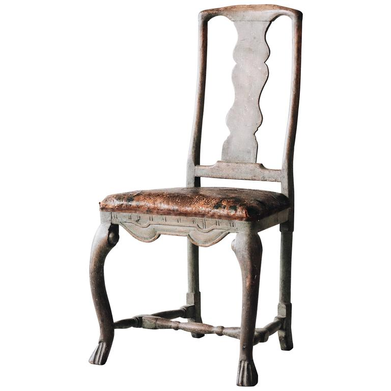 18th Century Swedish Baroque Chair 1