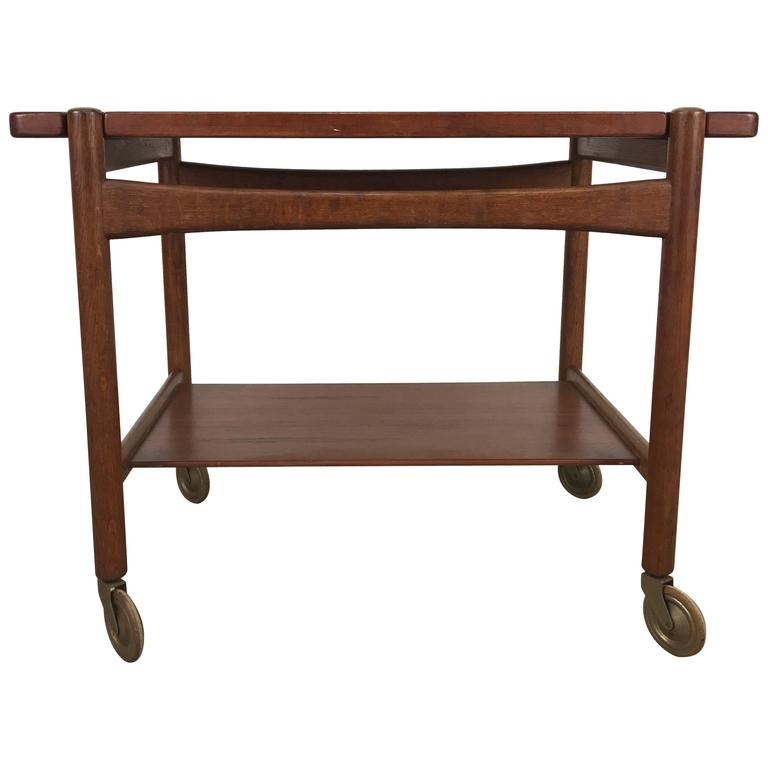 Hans Wegner Bar, Serving Cart, Removable Tray, Made in Denmark Andreas Tuck For Sale