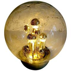 Large Doria MidCentury Glass Globe Table Lamp, Style of Vistosi Seguso