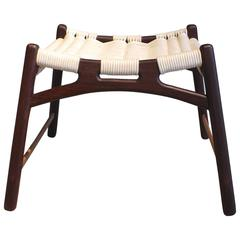 Stool with Frame of Wengé and Bars of Oak with Woven Seat by Martin Godsk