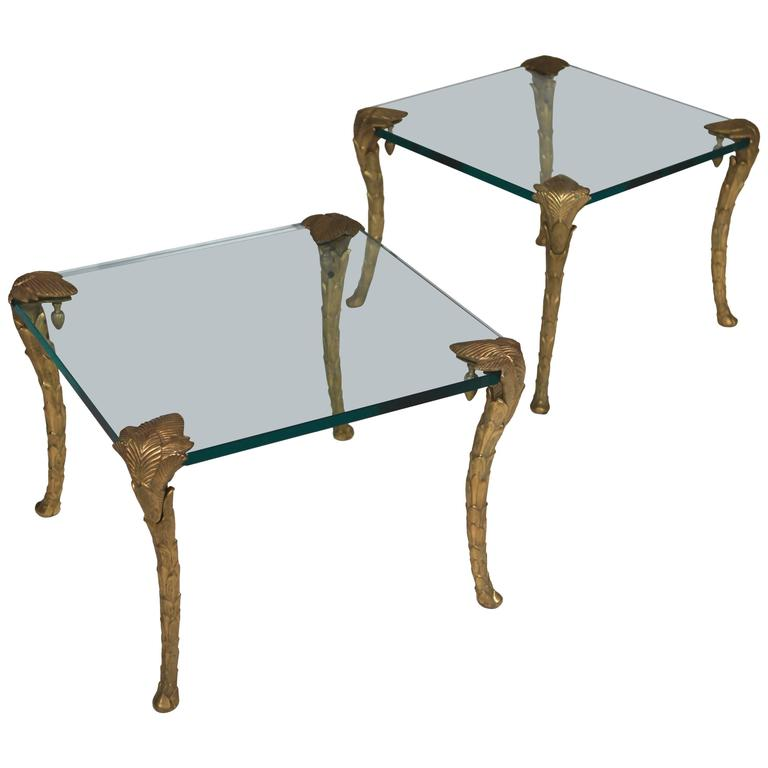 Maison Charles, Pair of Bronze and Glass Coffee Tables 1
