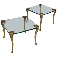 Maison Charles, Pair of Bronze and Glass Coffee Tables