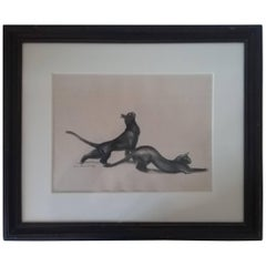 """French Art Deco Drawing"""" Couple of Cats"""" by André Margat Signed and Dated 1934"""