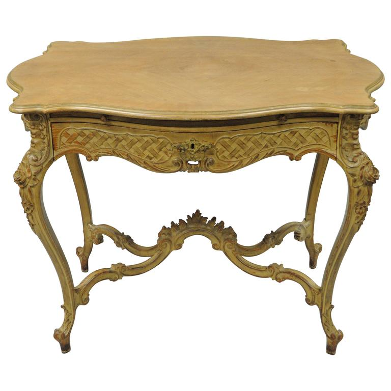 French Country Louis XV Style Carved and Distressed Dressing Table Writing Desk
