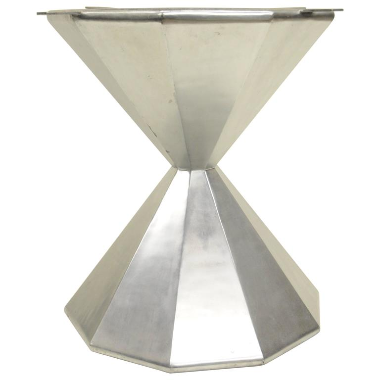 Faceted Hour Glass Dining Center Table Pedestal Base Aluminum Aviator Style