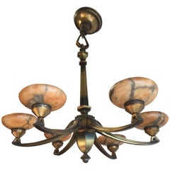 Early 1900s Jugendstil Bronze Pendant / Chandelier with Six Alabaster Shades