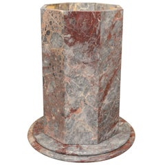 Vintage Italian Rogue Marble Octagonal Dining Table Pedestal Base Grey Pink Vein