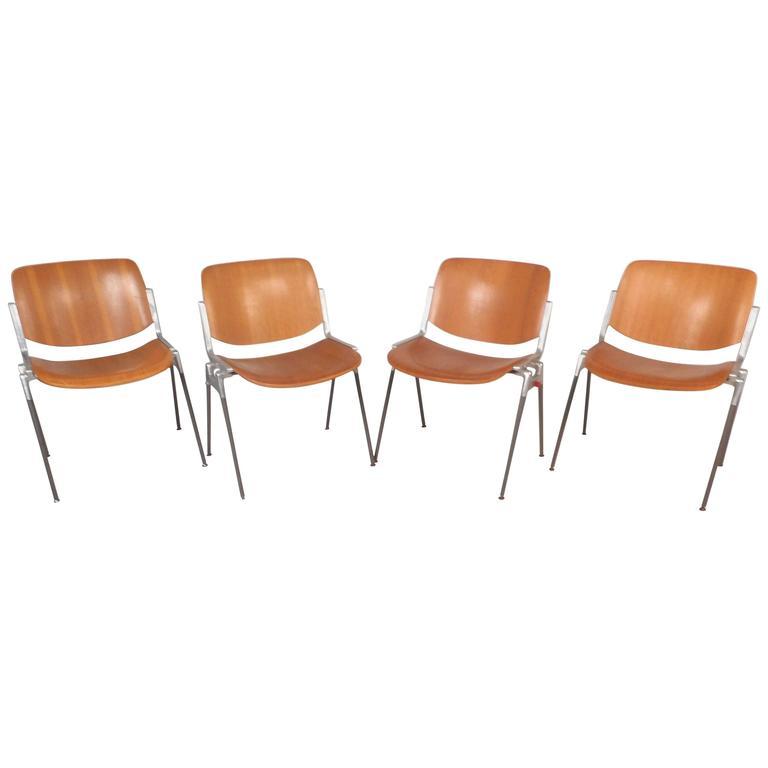 Set Of Mid Century Modern Italian Stacking Chairs By Giancarlo Piretti 1