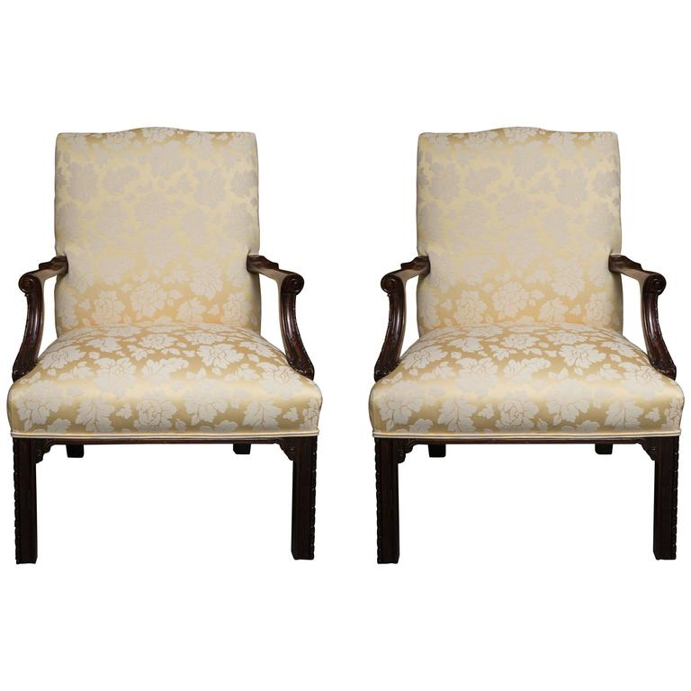 English Mahogany Upholstered Library Chairs For
