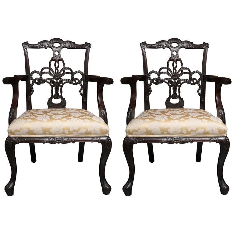 Pair of 19th Century English Ribbon Back Armchairs For Sale