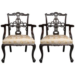 Pair of 19th Century English Ribbon Back Armchairs