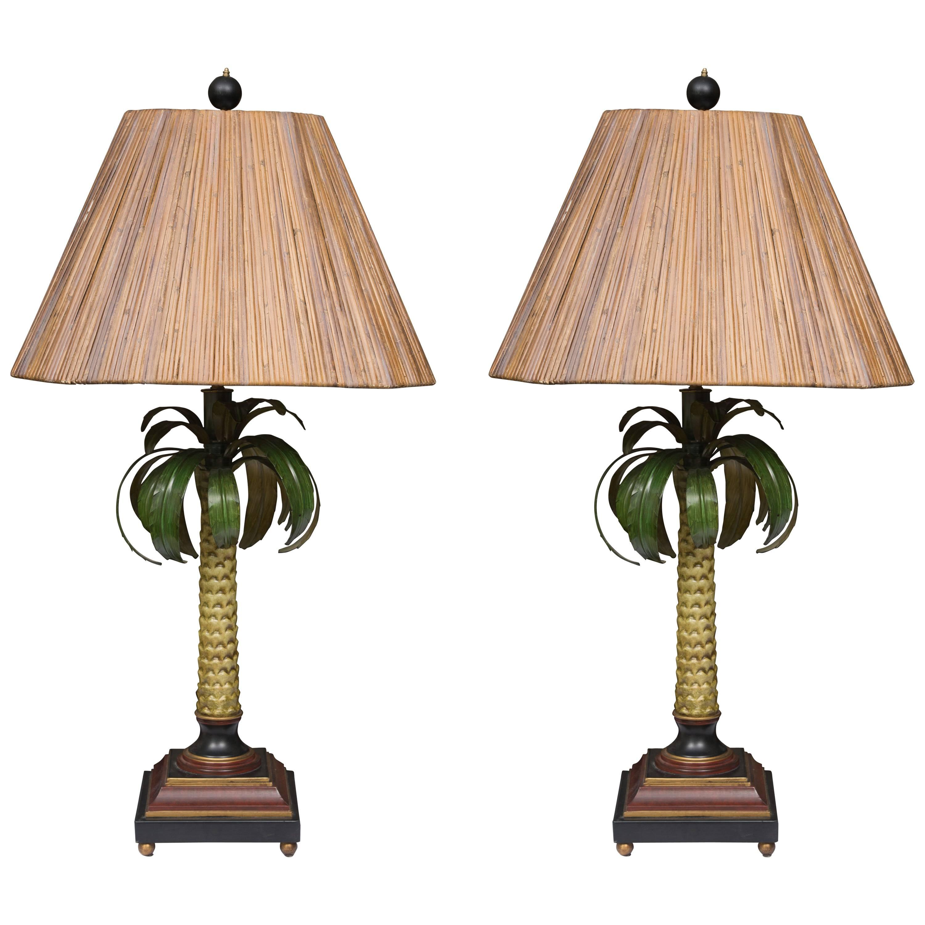 Hand-Painted Palm Tree Lamps with Custom Bamboo Shades