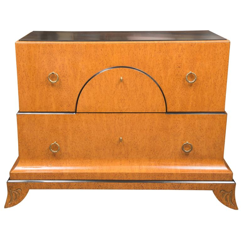 Biedermeier Style Chest With Black Granite Top For