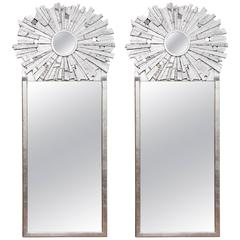 Pair of Contemporary Silvered Sunburst Mirror