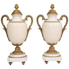19th Century Pair of White Marble and Gilt Metal Urns