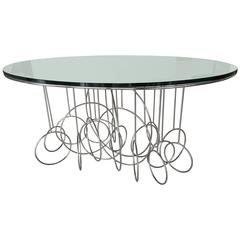 Chrome and Mirror-Top French Console or Center Table