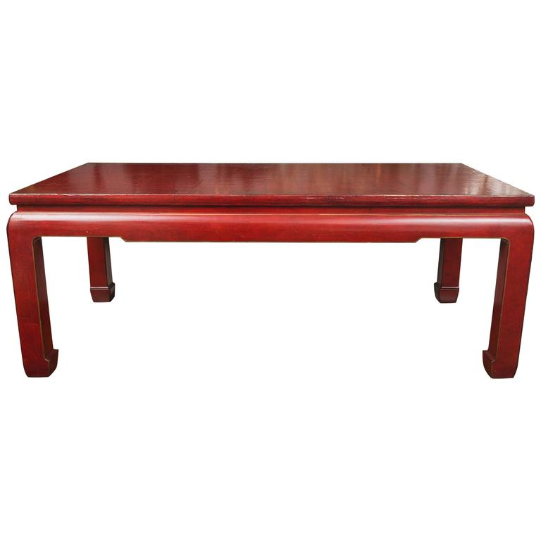 Red Lacquered Coffee Table At 1stdibs