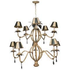 Polychrome Metal Ten-Light Faux Custom Bamboo Chandelier