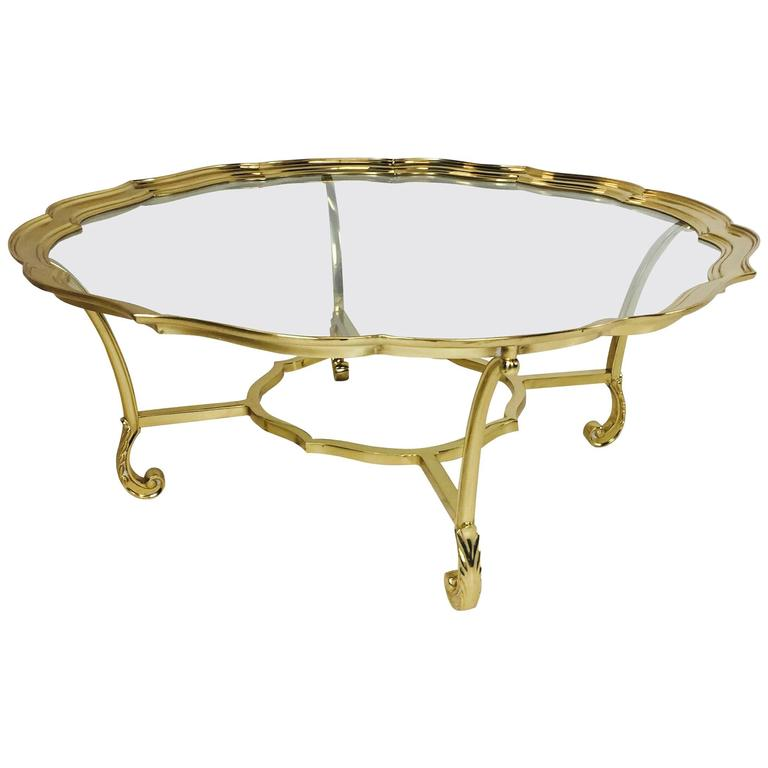hollywood regency scalloped edge brass and glass coffee table