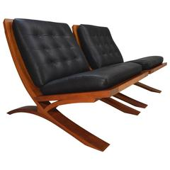 "Pair of ""VITA Collection"" Cherry and Leather Lounge Chairs by Thomas Moser"