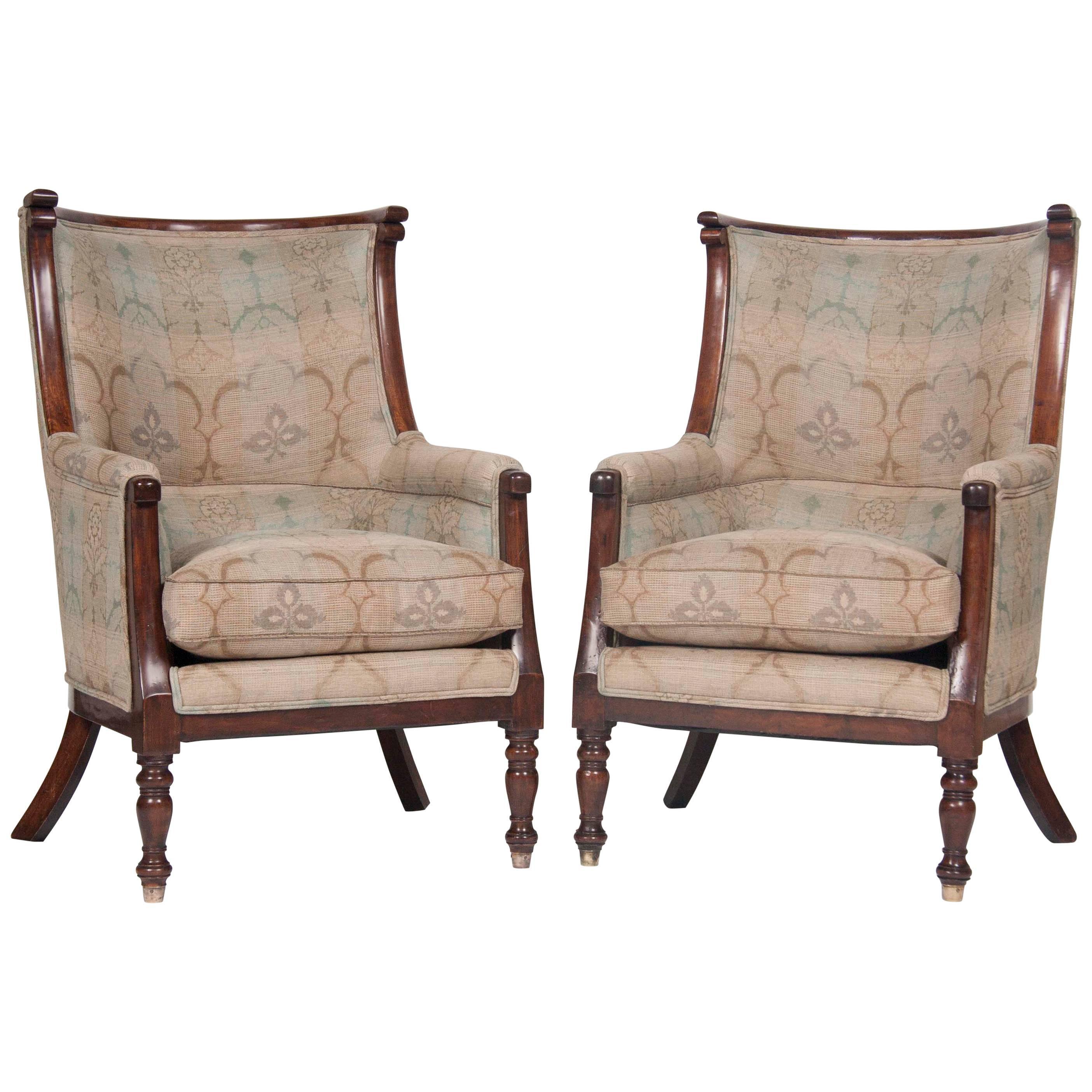 Huge Pair of  Barrel Form Mahogany Chairs