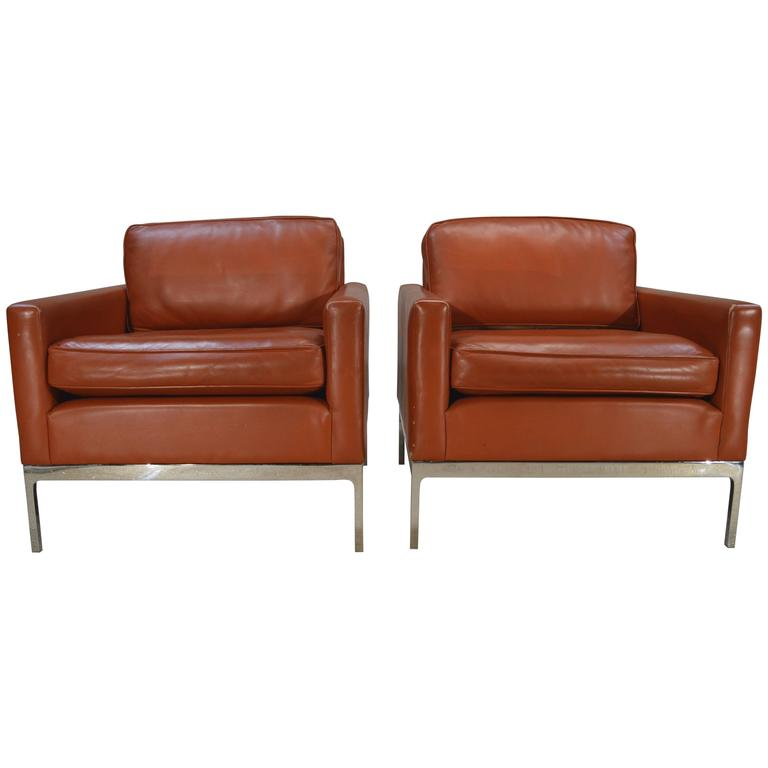 Nicos Zographos Soft Leather Club Lounge Chairs