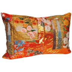 Custom Pillow Cut from a Vintage Japanese Silk Uchikake Wedding Kimono