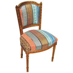 Antique Danish Chair Newly Upholstered in a Vintage Silk Kantha Quilt from India