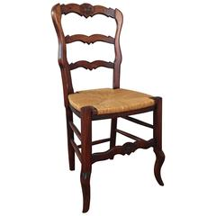 French Provincial Style Side Chair with Rush Seat, Mid 20th Century