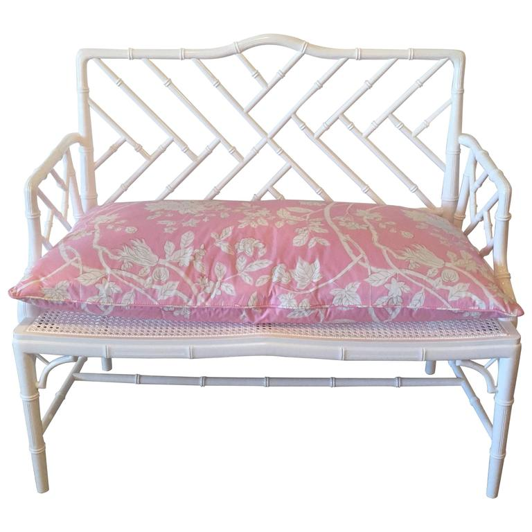 Chinese Chippendale Faux Bamboo Arm Bench Lacquered Chinoiserie Pink ...