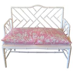 Chinese Chippendale Faux Bamboo Arm Bench Lacquered Chinoiserie Pink Cushion
