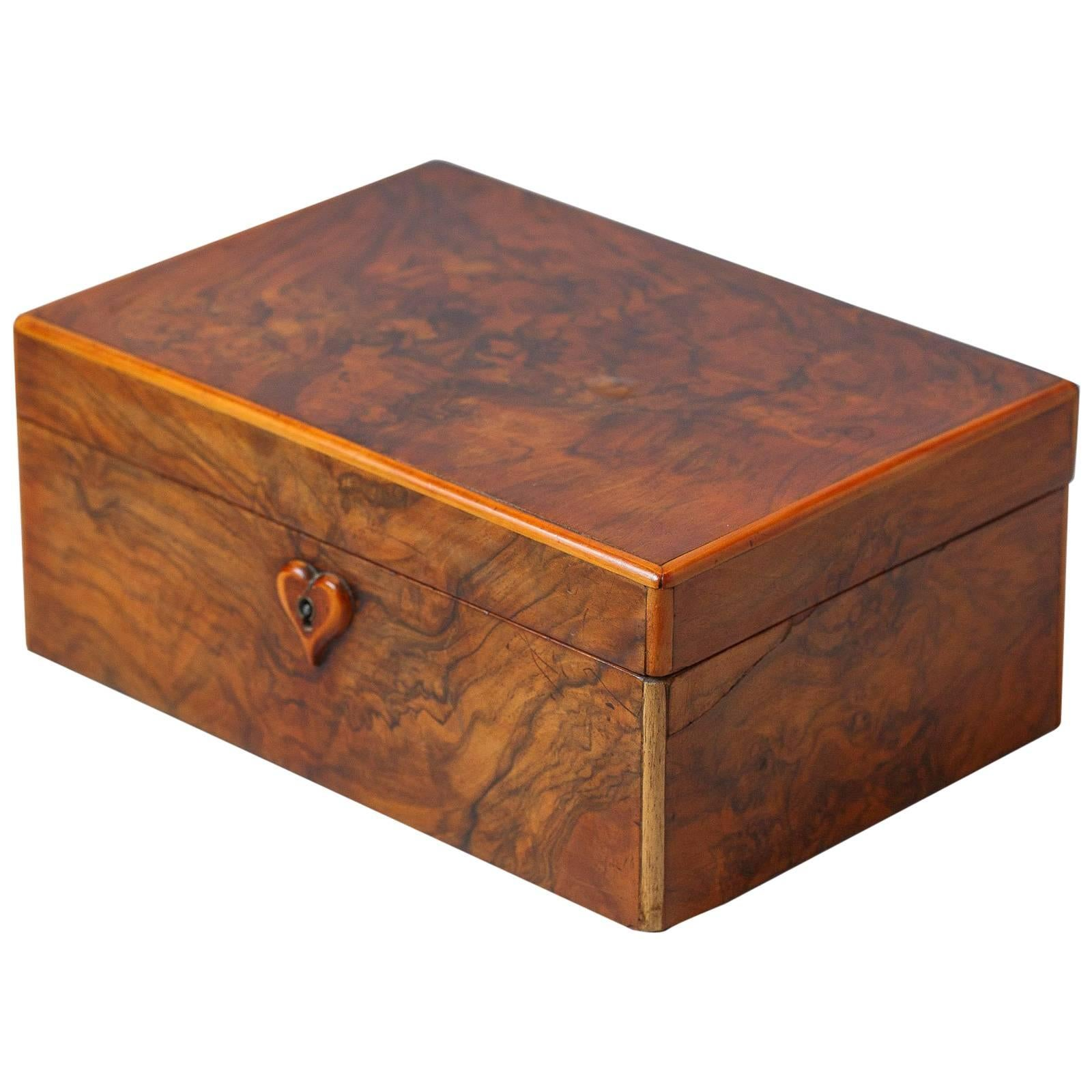 French Walnut Jewelry Box Early 1900s at 1stdibs
