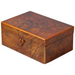 French Walnut Jewelry Box, Early 1900s