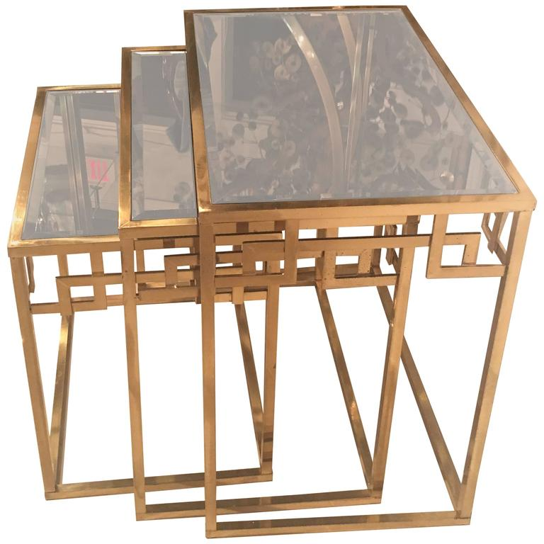 Set of Three Brass Greek Key Italian Nesting Tables, Italian End Side Glass