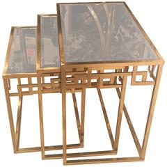 Set of Three Brass Greek Key Italian Nesting Tables, Italian End Side Glass