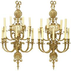 Pair of Neoclassical Style Gilt Bronze Eight Light Wall Lights, 20th Century