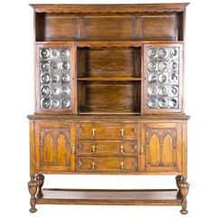 Antique Scottish Oak Welsh Dresser, Sideboard, Buffet, Bullseye Glass, 1910 B580