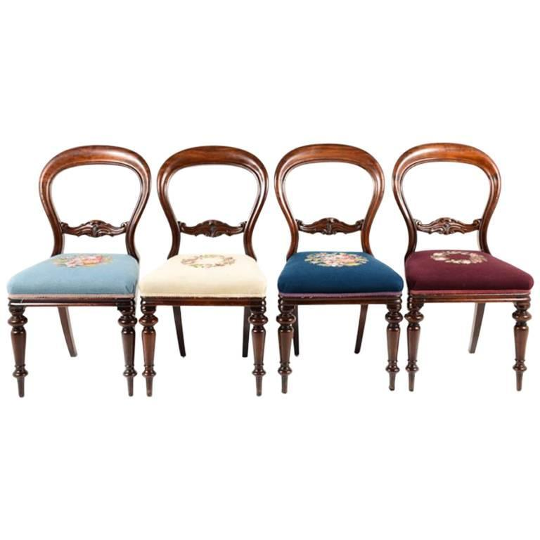 Charmant Set Of Four Antique English Mahogany Balloon Back Chairs, Circa 1870 For  Sale
