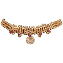 22-Karat Gold, Ruby and Crystal Choker Necklace from India, circa 1930